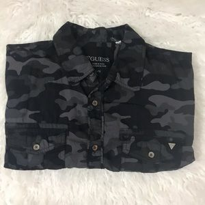Guess camo print slim fit button down shirt